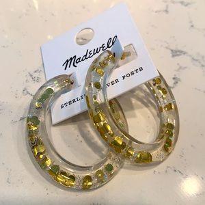 Paillette Resin Oval Hoop Earrings
